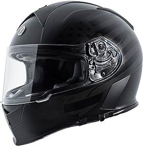 TORC Men's Full Face helmet (Flat Black Flag, X-Large)