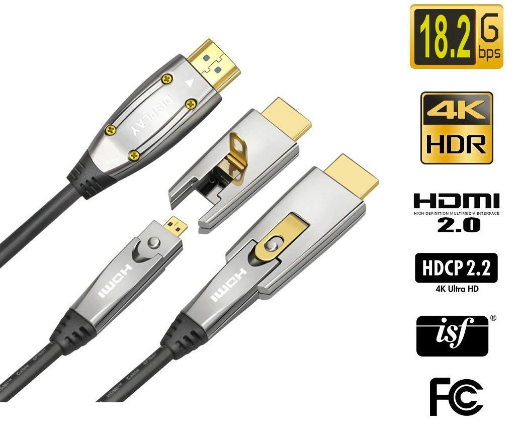Jeirdus 500ft 150Meters AOC HDMI Fiber Optic Cable 18Gbps High Speed 4K60HZ, with Small Micro and Standard HDMI Connectors,Easy to Pipe Routing by Jeirdus