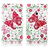 TOMYOU Nokia Lumia 520 Case, Colorful Flower Stylish Patterned Flip Premium PU Leather Soft TPU Rubber Silicone Wallet Cover with Card Slots and Kickstand Protective for Nokia Lumia 520 (Red Butterfly)