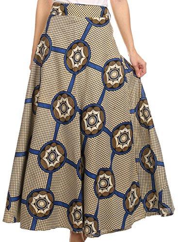Sakkas SK16318 - Garan Long Opaque Fully Adjustable Printed Skirt Wrap Around Without Slit - Navy / Cream Checker Print - OS - Printed Tie Waist Cami