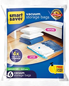 Bigtime Ent SmartSavers Ziplock Vacuum Storage Bags, Reusable Space Saver Bags for Clothes, Comforters, Blankets, Pillows, Bedding Packing (6 Medium (28 X 20) INCH)