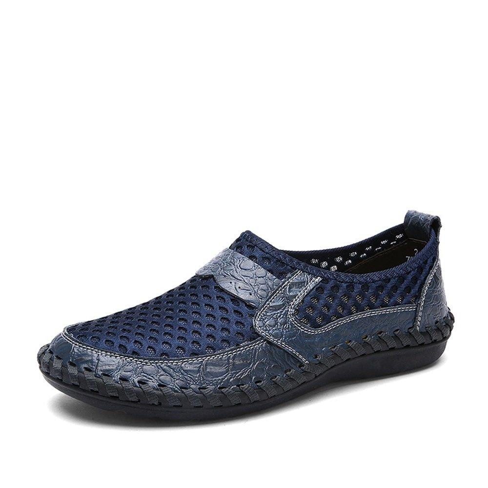 Sunny&Baby Slip de Color Sólido de Tacón Plano Mesh Loafer para Hombre en los Zapatos Antideslizante (Color : Azul, Tamaño : 38 EU) 38 EU|Azul