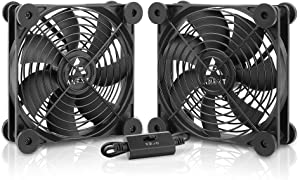 Antec Quiet Dual 120mm USB Fan, for Receiver DVR Playstation Xbox Computer Cabinet Cooling, ANEXT Series
