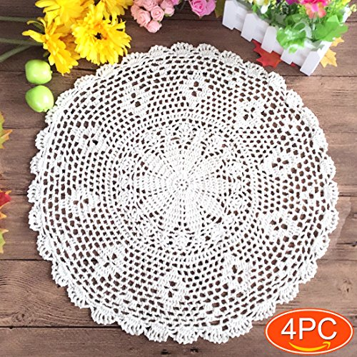 Elesa Miracle 4pc Handmade Round Crochet Cotton Lace Table Placemats Doilies Value Pack, Persia, Beige/White, 14 Inch /10 Inch /18 Inch (4pc 18 Inch White) ()