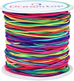 Dreamtop 1mm 100 Meters Rainbow Elastic Cord Colorful Bead Stretch String