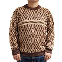 CELITAS DESIGN Sweater baby alpaca and blend Brown jack rombo made in PERU