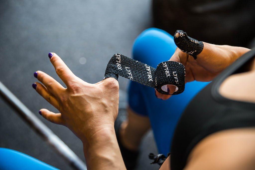 LYFT-RX Weight Lifting Hook Grip Tape con la Mejor Calidad Adhesivo 3 Unidades Protege los Pulgares y Dedos   Cinta Flexible para Levantar Pesas, ...