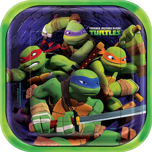 Ninja Turtles Pizza (Square Teenage Mutant Ninja Turtles Dinner Plates 8ct)