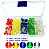Haitronic 300pcs 3mm, 5mm led assorted colorful(5 color) LED KIT for Prototyping Arduino/ breadboard DIY, teaching students electric circuitry, red Yellow blue Green white Assorted LED