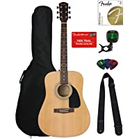 Fender FA-100 Dreadnought Acoustic Guitar - Natural Satin Bundle with Gig Bag, Tuner, Strings, Strap, and Picks