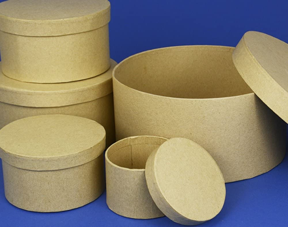 6.5cm Round High Paper Mache Box with Lid to Decorate Papier Mache Boxes