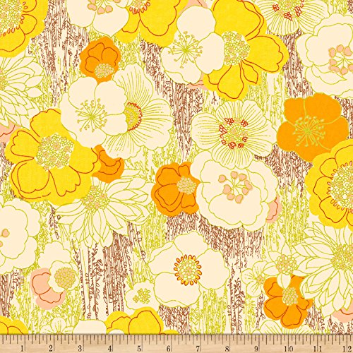 Fabric & Fabric QT Marlena Retro Floral Yellow Fabric by The Yard