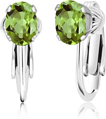 Gem Stone King 1.50 Ct Oval 7x5mm Green Prasiolite 925 Sterling Silver Stud Earrings