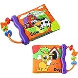 libri neonati con dentaruolo,il Mio Primo Libro attività-Giocattolo Neonato Libro stoffa morbido per bambino-animale libri