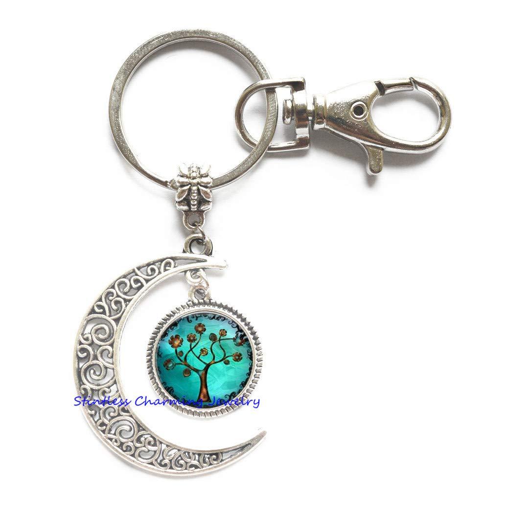 Tree of Life Jewelry, Tree Moon Keychain, Tree of Life Key Ring, Tree of Life Moon Keychain, Family, Tree of Life,Gift for Her,Charm Moon Keychain-JP273 (C1) stintless charming Jewelry