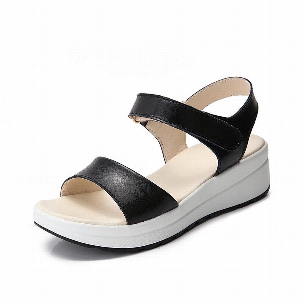 YTTY Fashion Velcro Sandalen Komfort All-Match-Schuhe Rutschfeste Tragen Sandalen  38|Schwarz