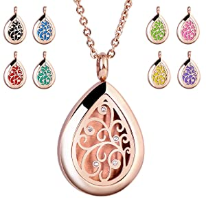 RoyAroma Rose Gold Aromatherapy Essential Oil Diffuser Necklace Stainless Steel pendant Perfume Locket Women Jewelry