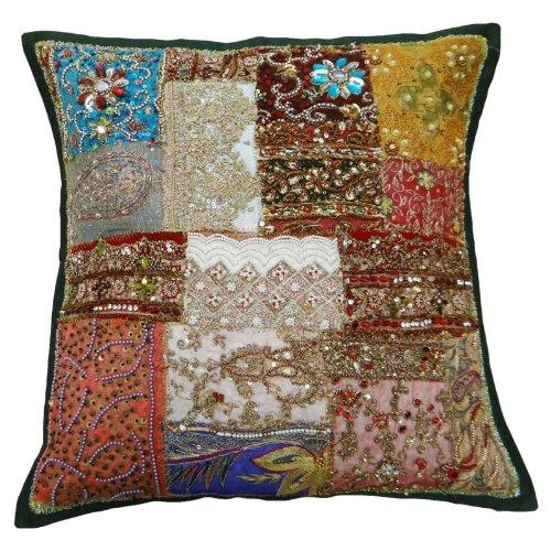 Traditional Handmade Cushion Cover 45 cm Beaded Patchwork Pillowcase Decorative Throw 18x18 Inc ()