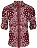 COOFANDY Mens Hipster Hip Hop Button Down Ethnic Shirt Long Sleeve Floral Casual Shirts,Red,X-Large