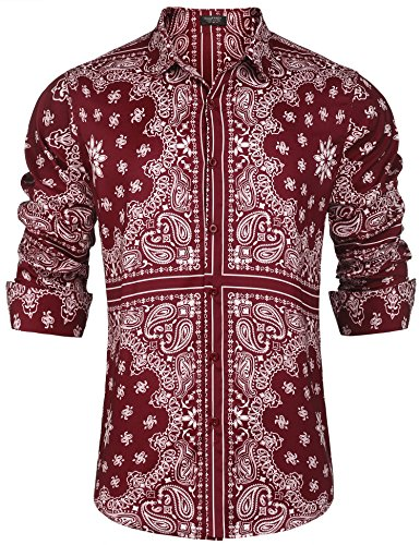 COOFANDY Mens Hipster Hip Hop Button Down Ethnic Shirt Long Sleeve Floral Casual Shirts,Red,X-Large by COOFANDY