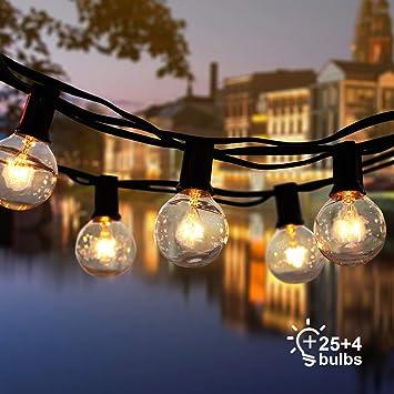 ROVLAK Guirnaldas Luminosas de Exterior Cadena de Luz Impermeable 25 + 4 Reemplazo de la Lámpara G40 Decoración Luz Interior para Casa, Jardín, Fiesta, Boda, Halloween y Navidad, Amarillo Cálido: Amazon.es: Bricolaje