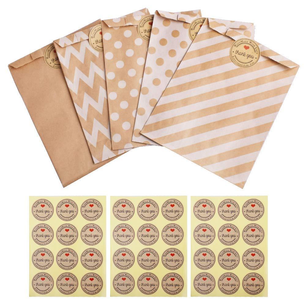 Gudotra 257pack Kit 125pz Sacchetti di Carta Caramella Biscotto Bustine Regalo+132 Adesivi Pacchetti Regalo per Natale Compleanno Matrimonio(125+132pz)