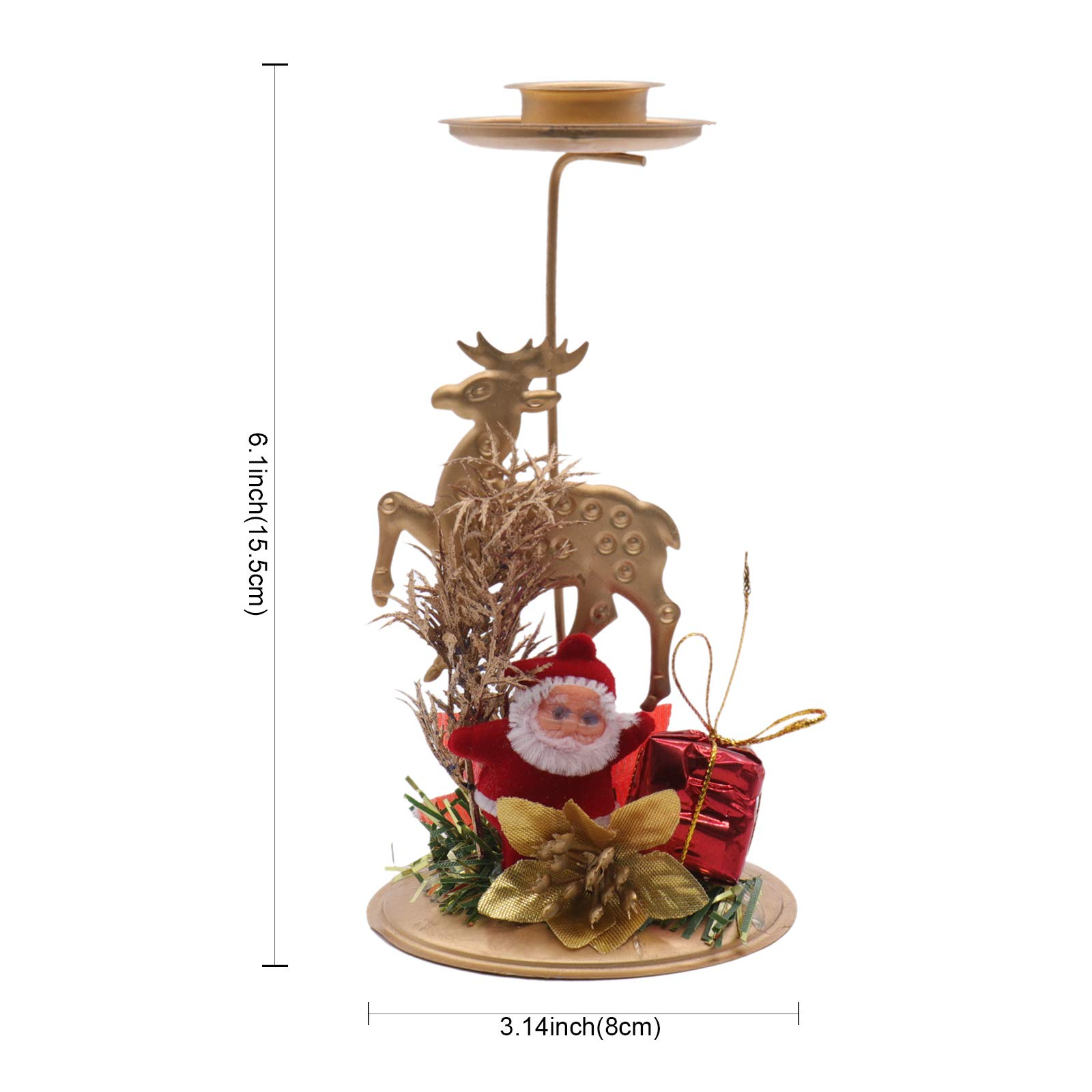 Santa Candle 8x15.5cm Christmas Iron Candlestick Creative Hollow Stand Santa,Christmas Tree,Snowflake,Star Candle Holder Table Decoration