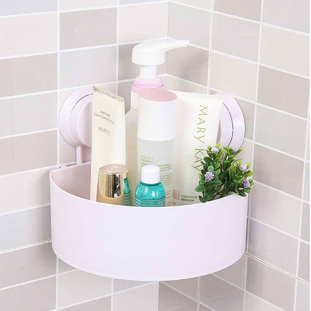 Bathroom wall shelf - Amazon Com Thebathmart Bathroom Wall Corner Suction Cup Triangle Storage Shelves Rack White Home Kitchen