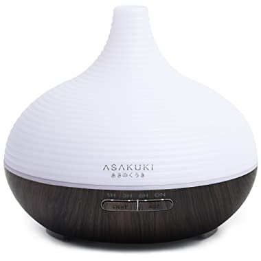 ASAKUKI 300ML Premium, Essential Oil Diffuser, Quiet 5-In-1 Humidifier, Natural Home Fragrance Diffuser with 7 LED Color Changing Light and Easy to Clean
