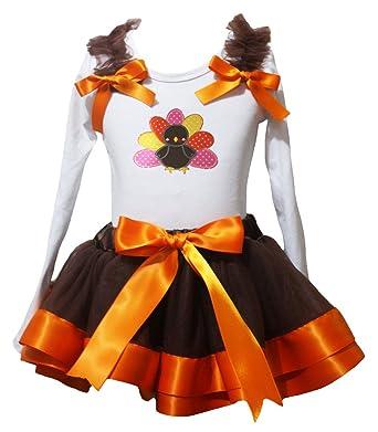Petitebelle lunares Turquía L/S camiseta naranja marrón falda de ...