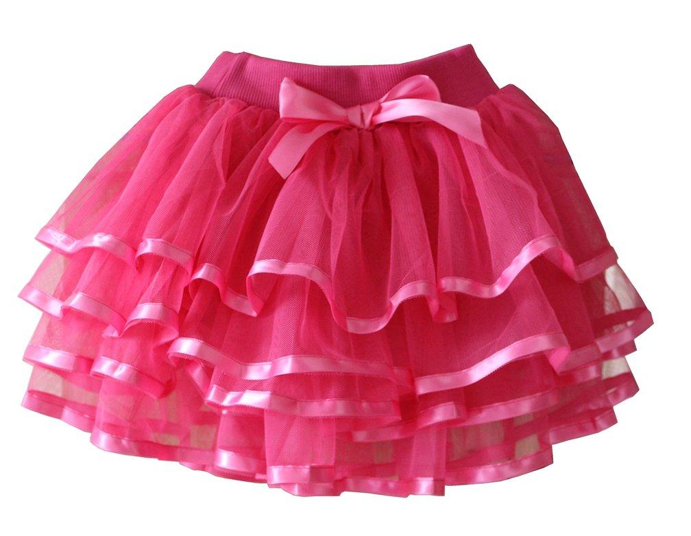 Tortoise & Rabbit Little Girls and Big Girls Tulle Tutu Skirt (S(7-8), Hot Pink)