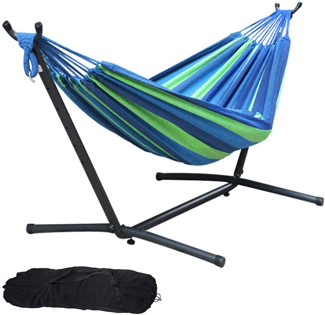 Hammock with Steel Stand, Brazilian-Style Cotton Adjustable Hammock Bed Includes Portable Carrying Bag for Camping Outdoors or Gardens and Travel