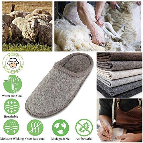 LE slippers On Indoor Gray Light men Mule Slip KAPMOZ Slippers for Wool House Mens Clog Womens Boiled rwrq8Xf