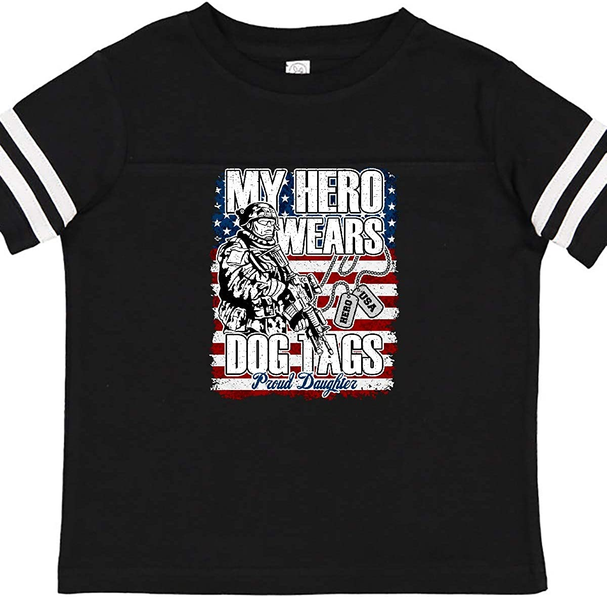inktastic Military Proud Daughter Hero Wears Dog Tags Girls Toddler T-Shirt
