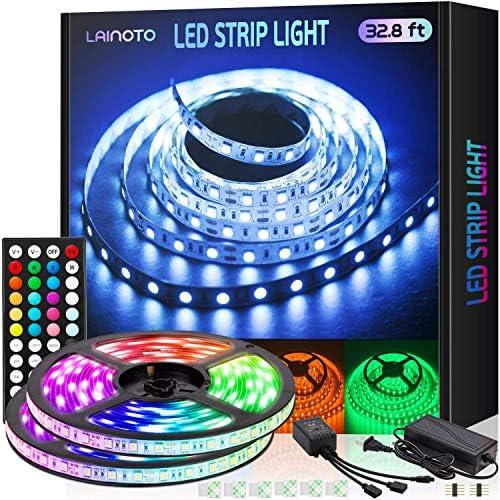 Led Strip Lights 16.4 ft 2 Rolls 5050 Rgb Color Changing 300 Leds 32.8 ft Strips with IR Remote Controller Power Kit for Home Bedroom Kitchen DIY
