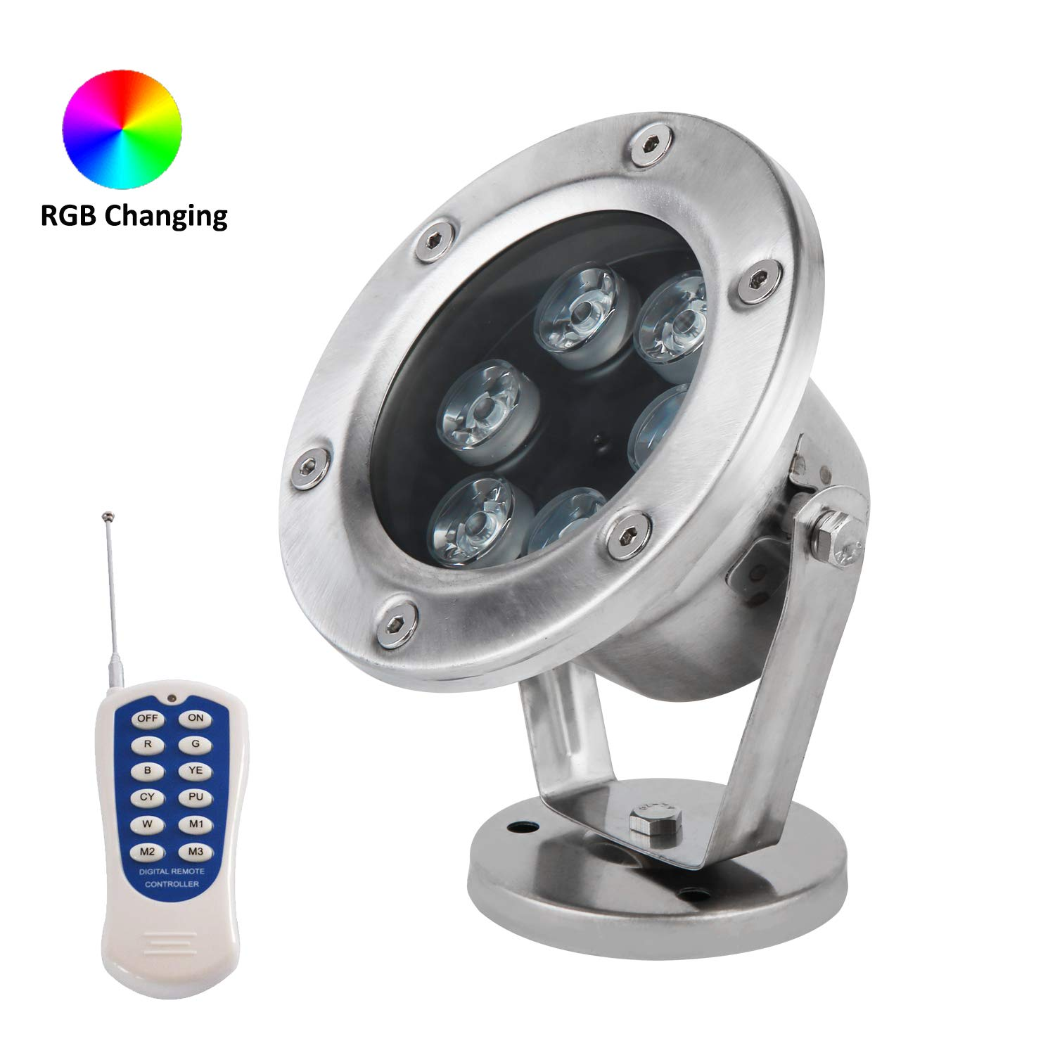 JSN&PC LED Underwater Lights 18W RGB Color Changing with RF Remote Controller & IP68 Waterproof Joint for Party Swimming Pool Fountain Water Rockery Grass Land