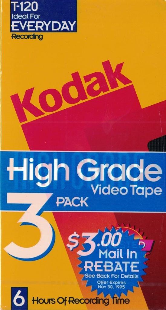 Kodak Pack of 3 High Grade T-120 Blank VHS Tape by KODAK