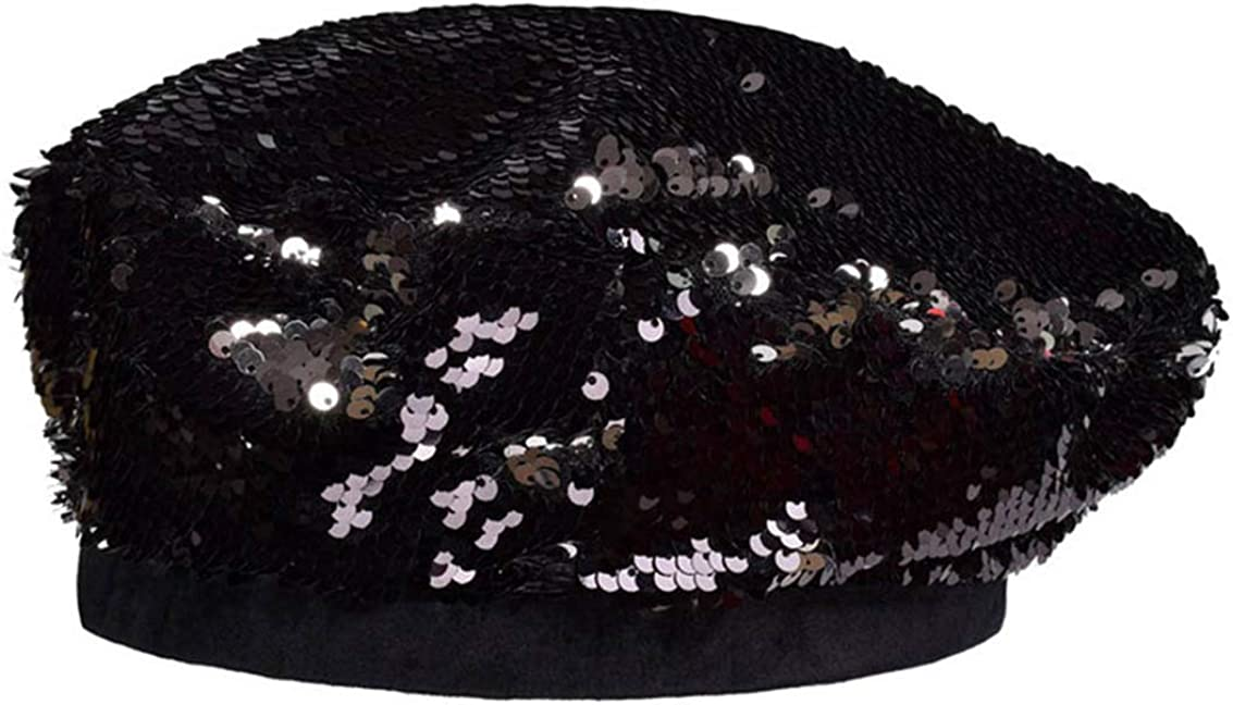 UTOWO Women Sequin Hats French-Berets Sparkle Shining Beanie Dancing Party