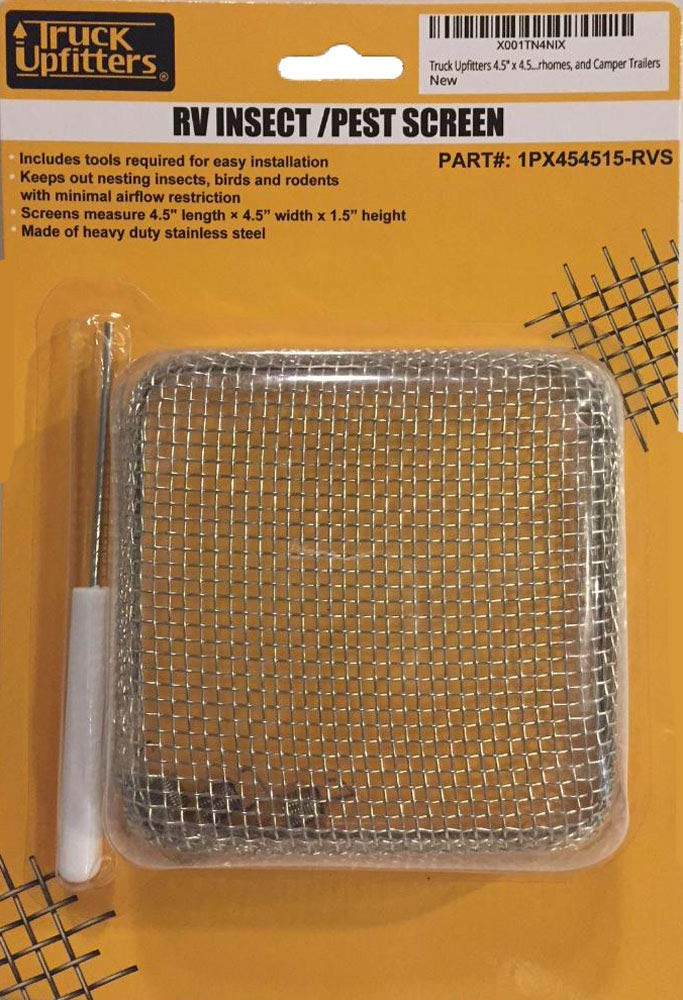 Truck Upfitters 4.5' x 4.5' x 1.8' RV Trailer Flying Bug/Insect Rodent Stainless Steel Mesh Screen Water Heater Vents on Travel Trailers, Motorhomes Camper Trailers