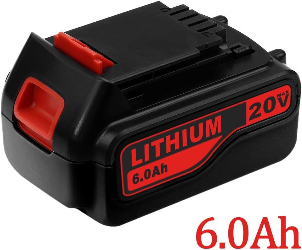 6.0Ah 20 Volt LB2X4020 Replacement Battery Compatible with Black and Decker 20V Lithium Battery LBXR20 LB20 LBX20 LBXR2020-OPE LBXR20B-2 LST220