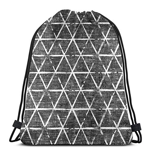 Textured Triangles - Woven Dark Grey_90541 Custom Drawstring Shoulder Bags Gym Bag Travel Backpack Lightweight Gym for Man Women 16.9