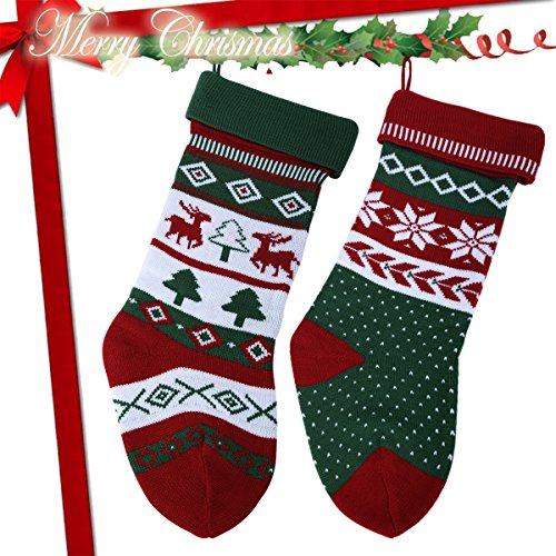 Knit Christmas Stockings for Family 22'' x 7'' Sets of 2 – Red/White/Green Snowflake knitted Hanging Bags - Holiday Gift - Decor,Decorations Christmas Tree,Mantel by Dragon Squama (Image #5)