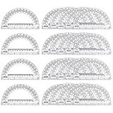 eBoot 24 Pack Plastic Protractors Clear Math Protractor 180 Degrees, 6 Inches
