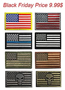 US Flag Velcro Patch, TOWEE 6 Pack American Flag USA Flags Punisher Velcro Patches Tactical Tags Patch Military Patch Embroidered Border America Military Uniform Emblem Velcro Morale Patches