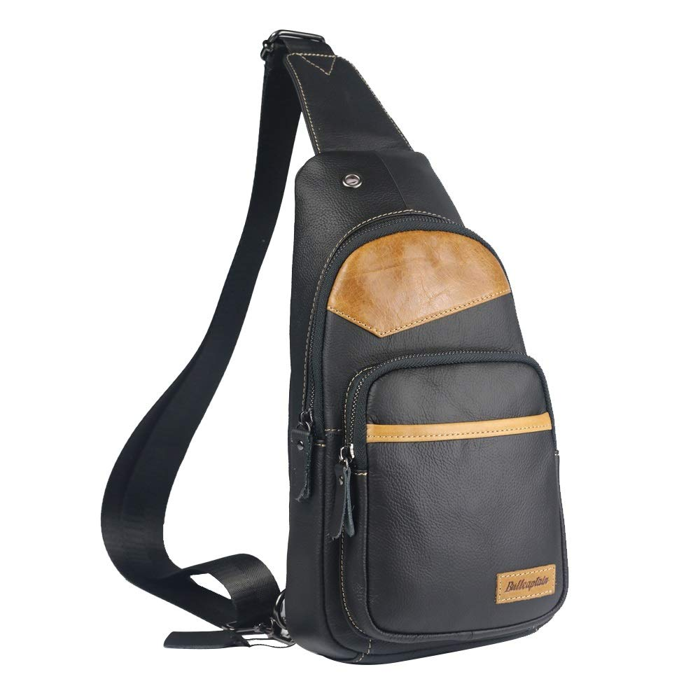 TongLing Mens Chest Bag Leather One-Shoulder Crossbody Bag Leisure Sports Mini Backpack Men Front Chest Bag Trend Color : Bronze, Size : M