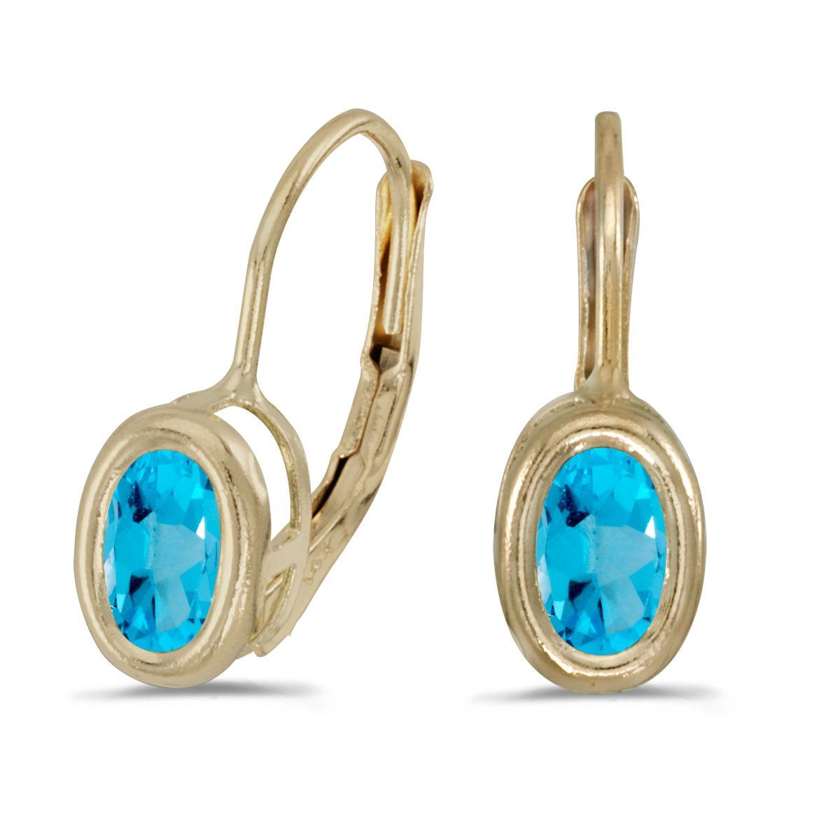 Jewels By Lux 14k Yellow Gold Studs Oval Gemstone Bezel Lever-back Earrings