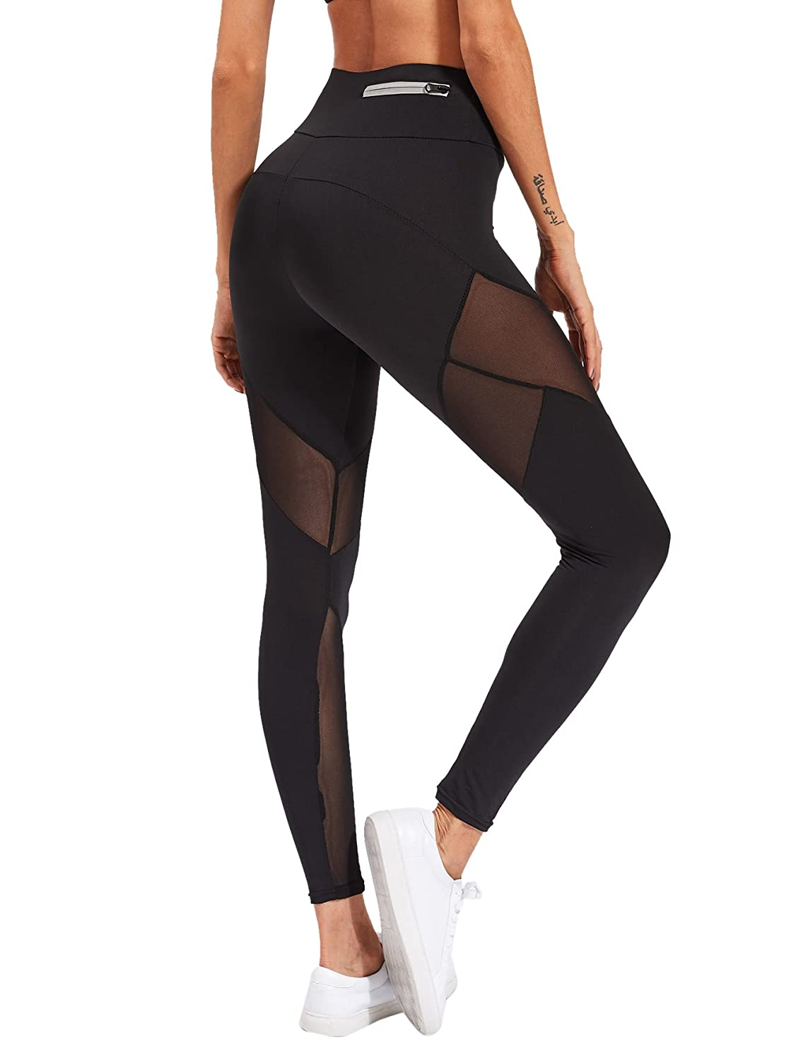 02261715b7a65 SweatyRocks Women's Stretchy Skinny Sheer Mesh Insert Workout Leggings Yoga  Tights at Amazon Women's Clothing store: