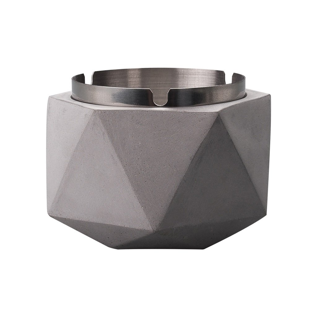 TLMY Ashtray Cement Stainless Steel Nordic Creative Personality Trend Simple Modern Industrial Wind Office Home Ashtray