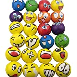 Mydio Set of 24 Emoji Stress Balls,Stress Reliver Party Favor,Soft PU Emoji Ball, Assorted Colors,Random Pattern,Party Toys,24 Pack