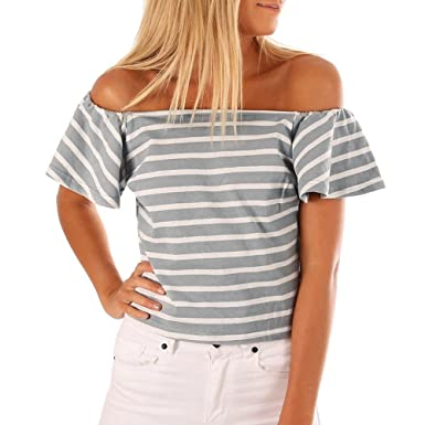 437054af9b1e34 Lethez Womens Casual Stripe Print Off Shoulder Tops Ruffles Short Sleeve T-Shirt  Blouse at Amazon Women s Clothing store